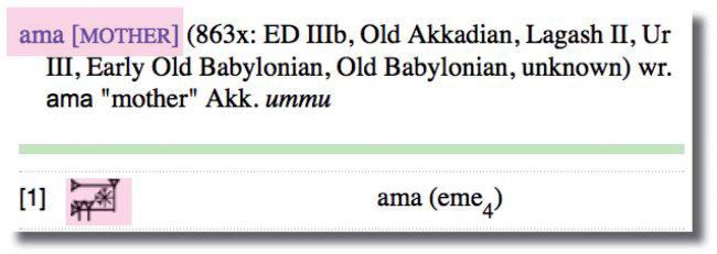 """old babylonian character for """"ama"""" [mother]"""