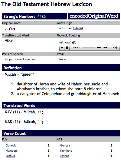 """table showing old testament Hebrew for """"milkah"""""""