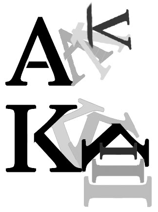 """illustration showing Letters morph to form each other:""""A"""" to """"K""""; """"K"""" to """"A."""""""