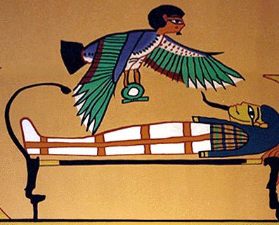 """illustration of Ba, the angel-like creature with the human head and bird body, functioned as the Egyptian's """"soul."""" According to Gardiner, this word is really pronounced """"bawk"""" similar to a bird squawk. Perhaps this is the sound the soul makes as it leaves the body (Picture credit: the Canadian Museum of Civilization. http://www.civilization.ca/cmc/exhibitions/civil/ egypt/images/reli19b.jpg."""