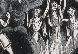 What is the symbol for adultery? A man encounters three women apparently burning in hell.